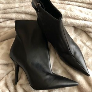 👀✅ NWT's Zara Leather Pointy toe Boots 38 7.5